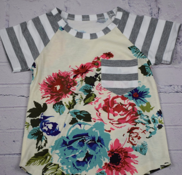 Mom and Baby Matching Floral and Stripe Shirt