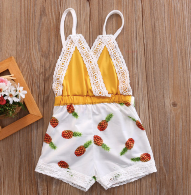 Baby/Toddler Mustard Lace Pineapple Romper