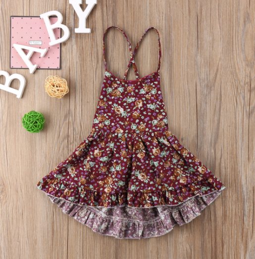 Baby/Toddler Cranberry Floral Tie Back Dress