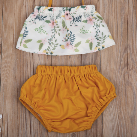 Baby/Toddler White Floral Top and Mustard Bloomer Set