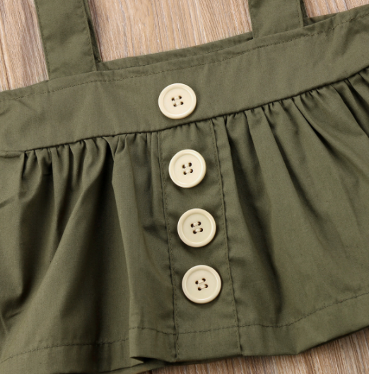 Baby/Toddler Olive Suspender Dress