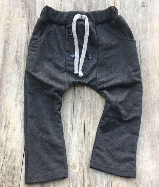 Baby/Toddler Dark Grey Button Harem Pants