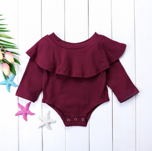 Baby/Toddler Plum Flounce Top Romper