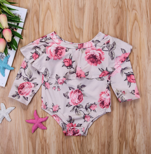 Baby/Toddler Roses Flounce Top Romper