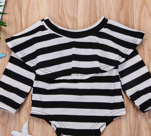 Baby/Toddler Black & White Stripe Flounce Top Romper