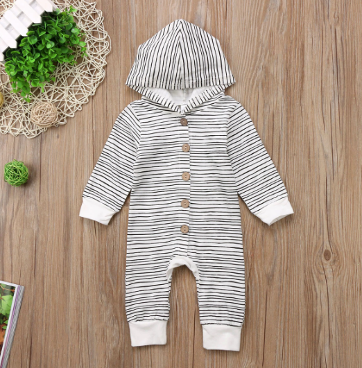 Baby/Toddler Black & White Stripe Hoodie Romper