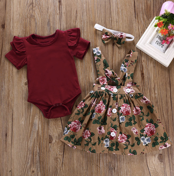 Baby/Toddler Cranberry Floral Suspender Dress/Romper/Headband Set