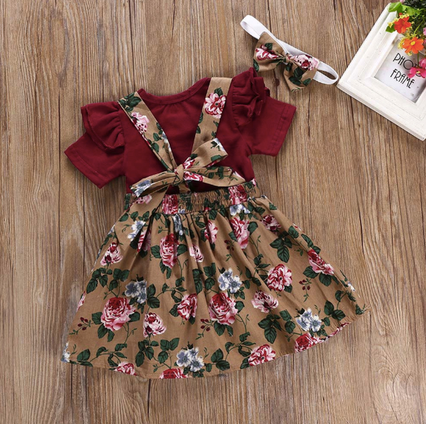 60be93f731f4 Baby/Toddler Cranberry Floral Suspender Dress/Romper/Headband Set ...