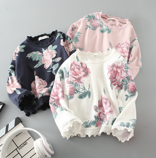 Baby/Kids White Floral Pullover
