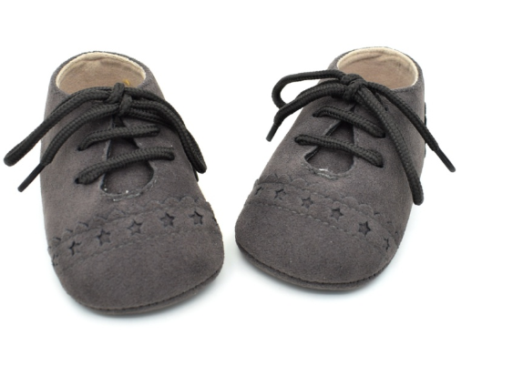 Baby Lace Up Oxford - Dark Grey Star Suede