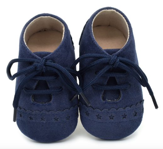 Baby Lace Up Oxford - Navy Star Suede