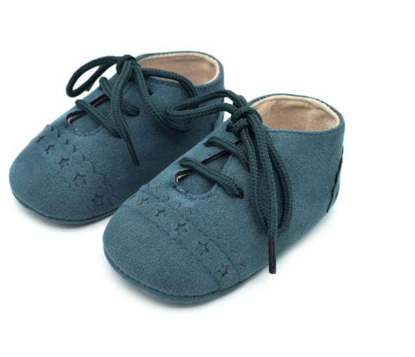 Baby Lace Up Oxford - Teal Star Suede