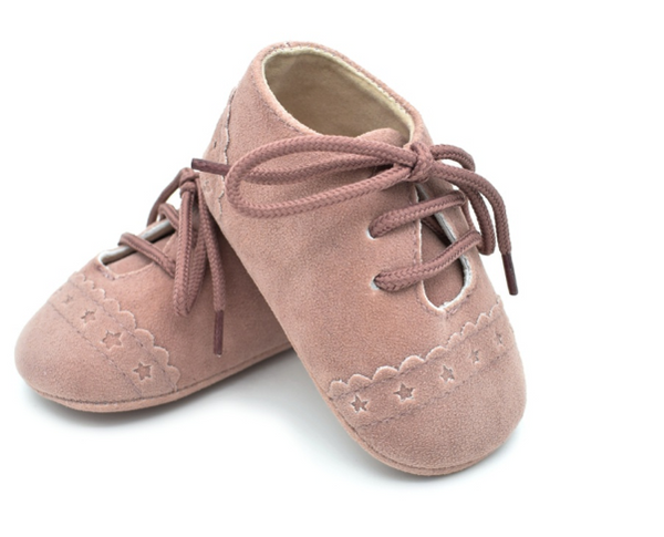 Baby Lace Up Oxford - Blush Star Suede