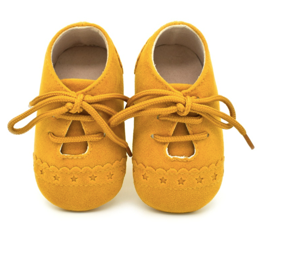 Baby Lace Up Oxford - Mustard Star Suede