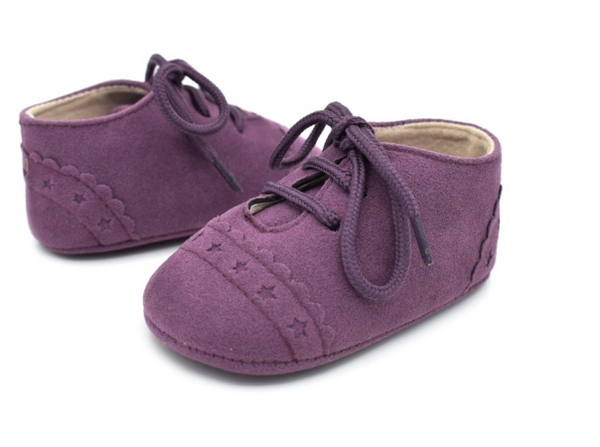 Baby Lace Up Oxford - Eggplant Purple Star Suede