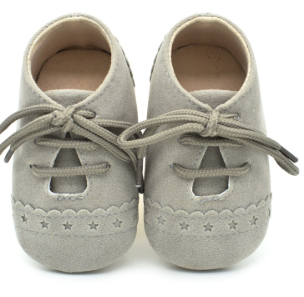 Baby Lace Up Oxford - Light Grey Star Suede