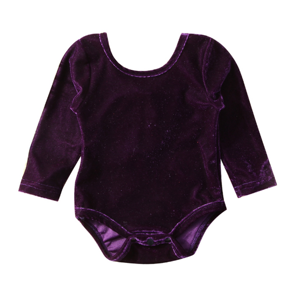 Baby/Toddler Eggplant Velvet Bow Leotard