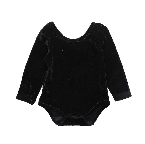 Baby/Toddler Black Velvet Bow Leotard
