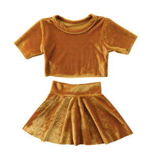 Baby/Toddler Marigold Velvet Crop Top and Skirt Set