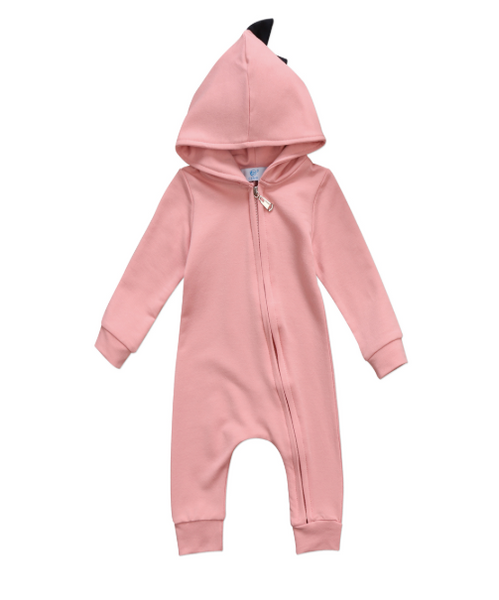 Baby/Toddler Pink Zip Up Dino Hoodie Romper