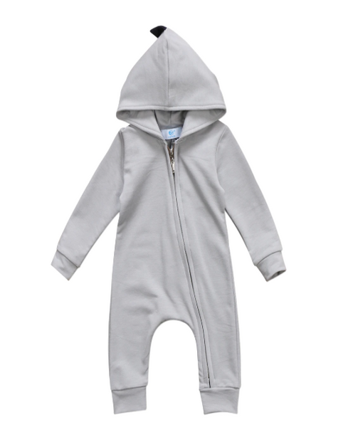 Baby/Toddler Grey Zip Up Dino Hoodie Romper