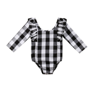 Baby/Toddler Buffalo Plaid Leotard Romper