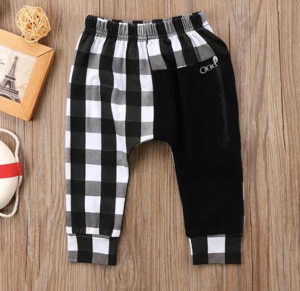 Baby/Toddler Black/White Buffalo Plaid Harem Pants