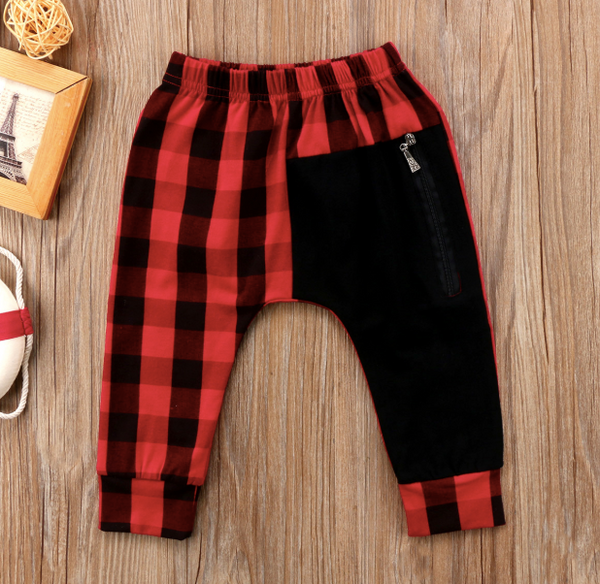 Baby/Toddler Red/Black Buffalo Plaid Harem Pants