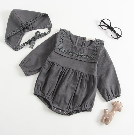 Baby/Toddler Grey Long Sleeve Romper and Bonnet