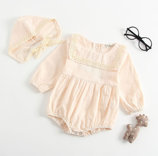 Baby/Toddler Cream Long Sleeve Romper and Bonnet
