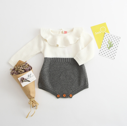 Baby/Toddler Grey and White Knit Button Romper
