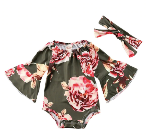 Baby/Toddler Olive Floral Bell Sleeve Romper/Headband