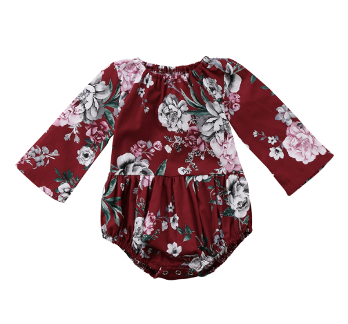 Baby/Toddler Cranberry Floral Long Sleeve Romper