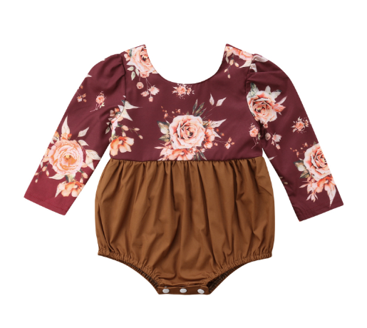 Baby/Toddler Cranberry and Rust Floral Long Sleeve Romper