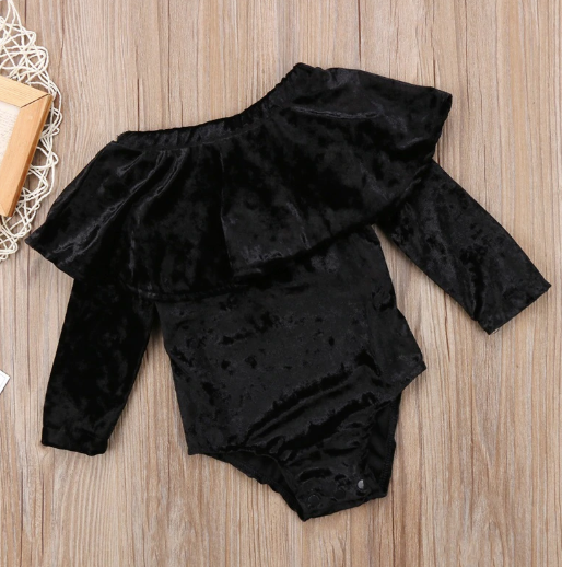 Baby/Toddler Black Velvet Off Shoulder Romper