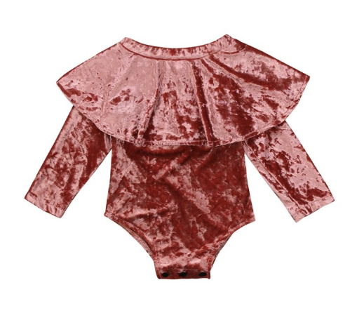 Baby/Toddler Pink Velvet Off Shoulder Romper