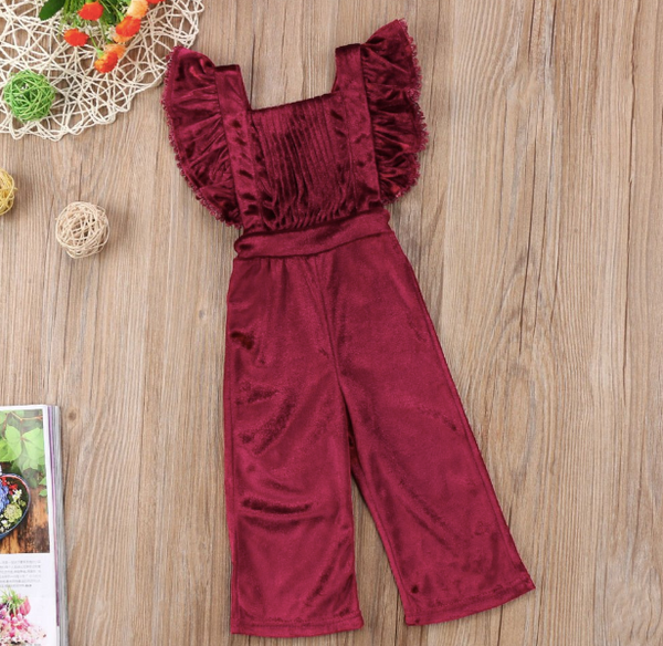 Baby/Toddler Cranberry Velvet Jumpsuit