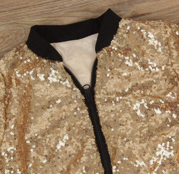 Baby/Toddler Gold Sequin Bomber Jacket