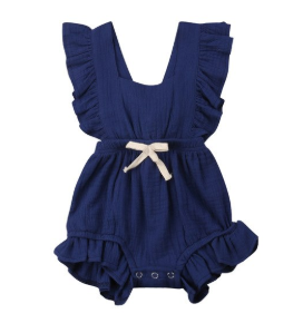 Baby/Toddler Navy Cross Back Romper