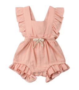 Baby/Toddler Pink Cross Back Romper