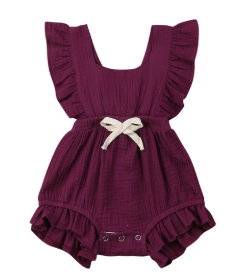 Baby/Toddler Cranberry Cross Back Romper