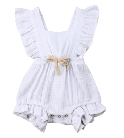Baby/Toddler White Cross Back Romper