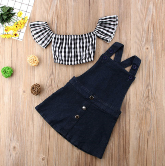 Baby/Toddler Denim Jumpsuit Dress With Gingham Crop Top