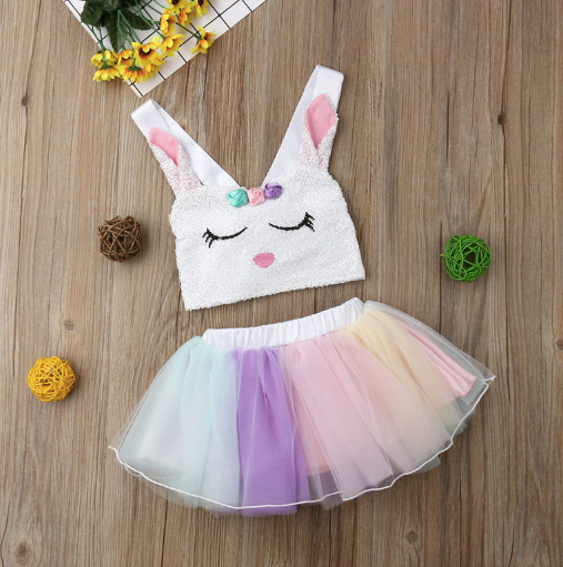 Baby/Toddler Crop Top With Rainbow Tulle Skirt