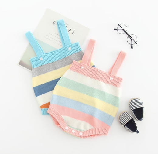 Baby/Toddler Blue Stripe Knit Romper