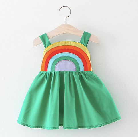 Baby/Toddler Green Rainbow Dress