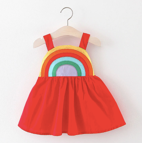 Baby/Toddler Red Rainbow Dress