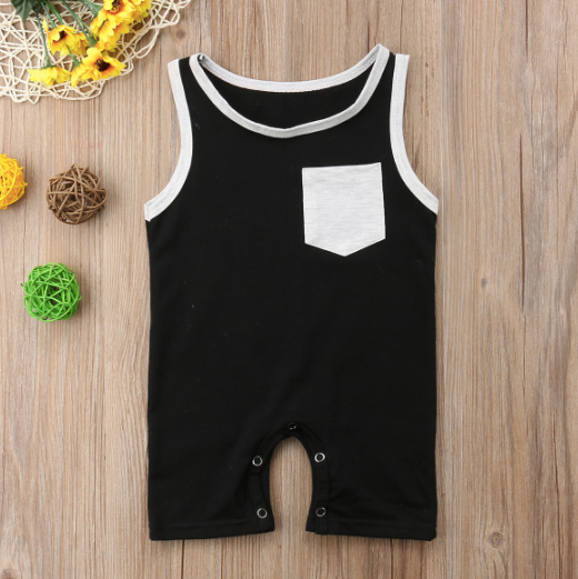 Baby/Toddler Black with Grey Pocket Romper