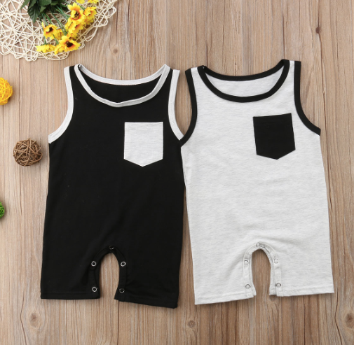 Baby/Toddler Grey with Black Pocket Romper