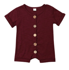Baby/Toddler Cranberry Heather Button Romper